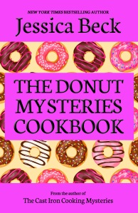 donut mystery cookbook cover - brightly colored grid of donuts with title in hot pink boxes