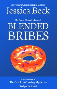 brightly colored blue book cover, with a donut with red icing and sprinkles