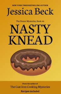 yellow book cover, with a donut with brown icing