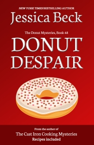 red book cover, with a donut with white icing and red decorative dots